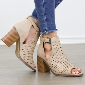 Peep Toe Taupe Faux Leather Heeled Ankle Boots